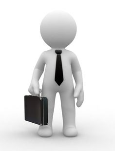 3d business man hold a black briefcase
